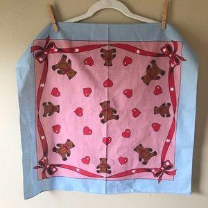 Vintage Bears and Hearts Pink Bandana Scarf
